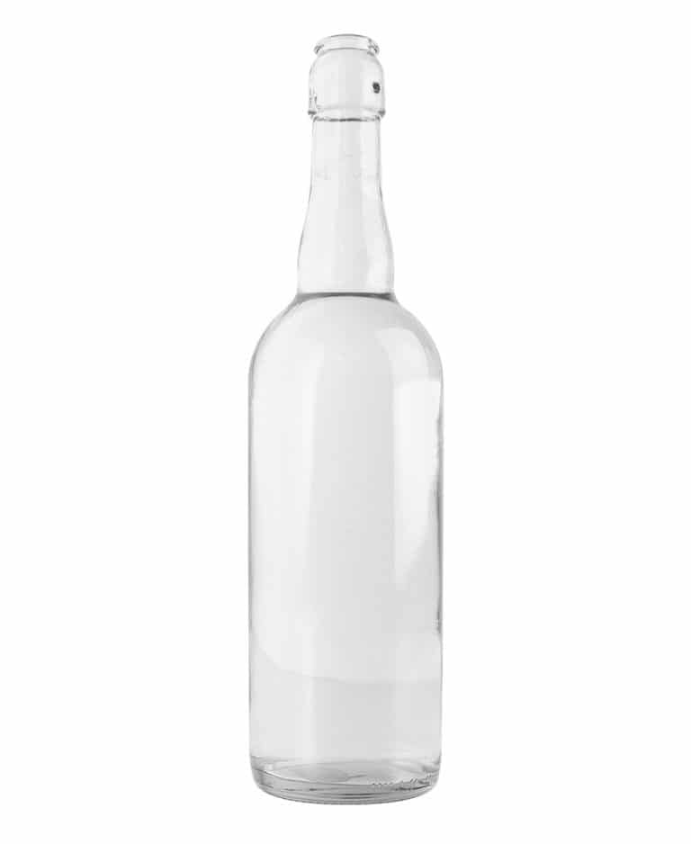 Beer bottle 750ml tall swing top glass white flint