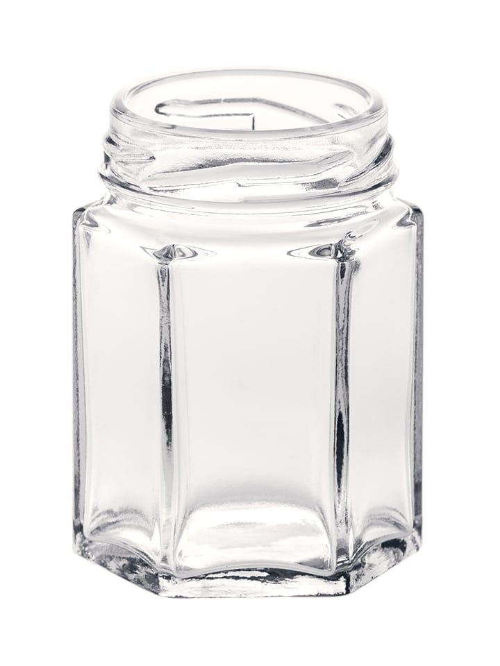 Hexagonal jar 055ml 43TO glass white flint