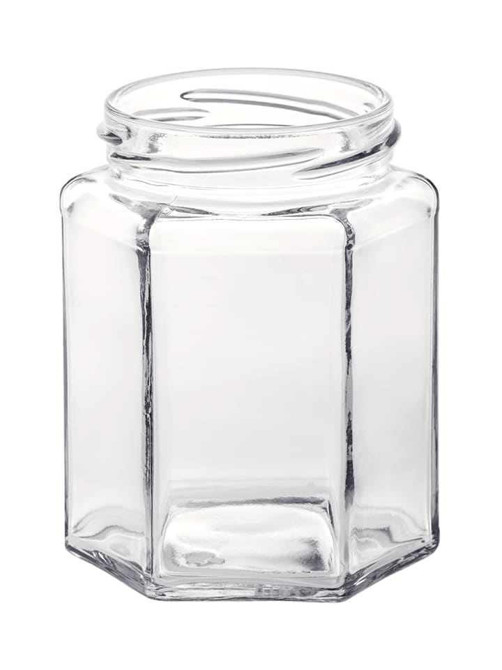 Hexagonal jar 280ml 63TO glass white flint
