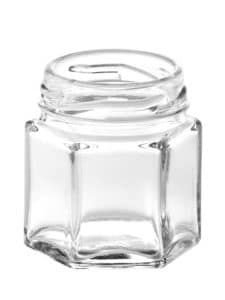 Hexagonal jar 045ml 43TO glass white flint