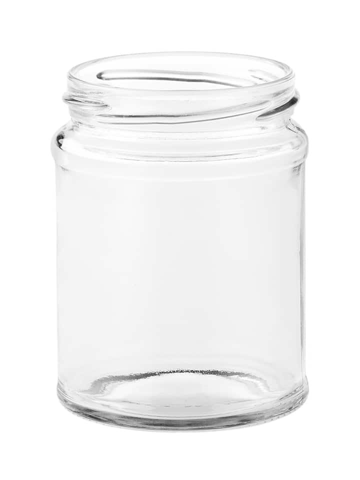 Food jar panelled 300ml 70TO glass white flint