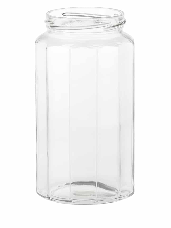 Dodecagon jar 680ml 70TO glass white flint