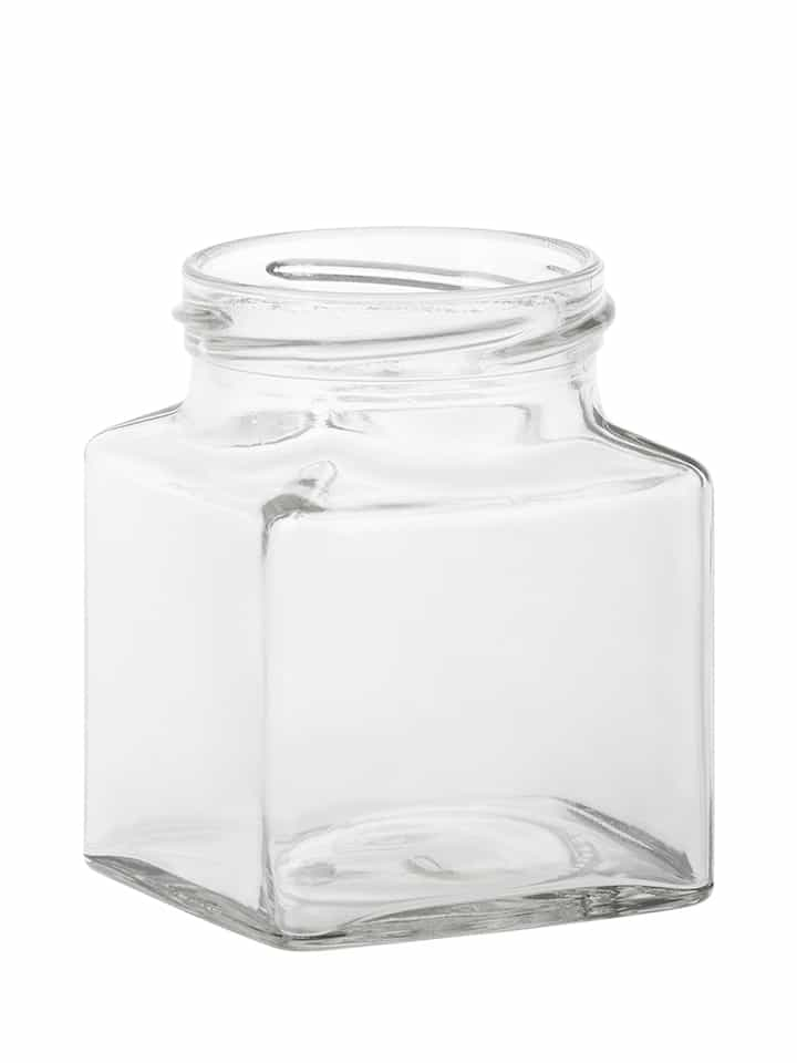 Square jar 282ml 63TO glass white flint