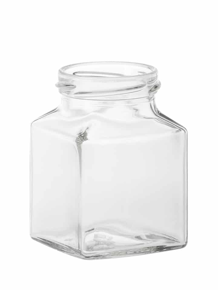 Square jar 200ml 53TO glass white flint