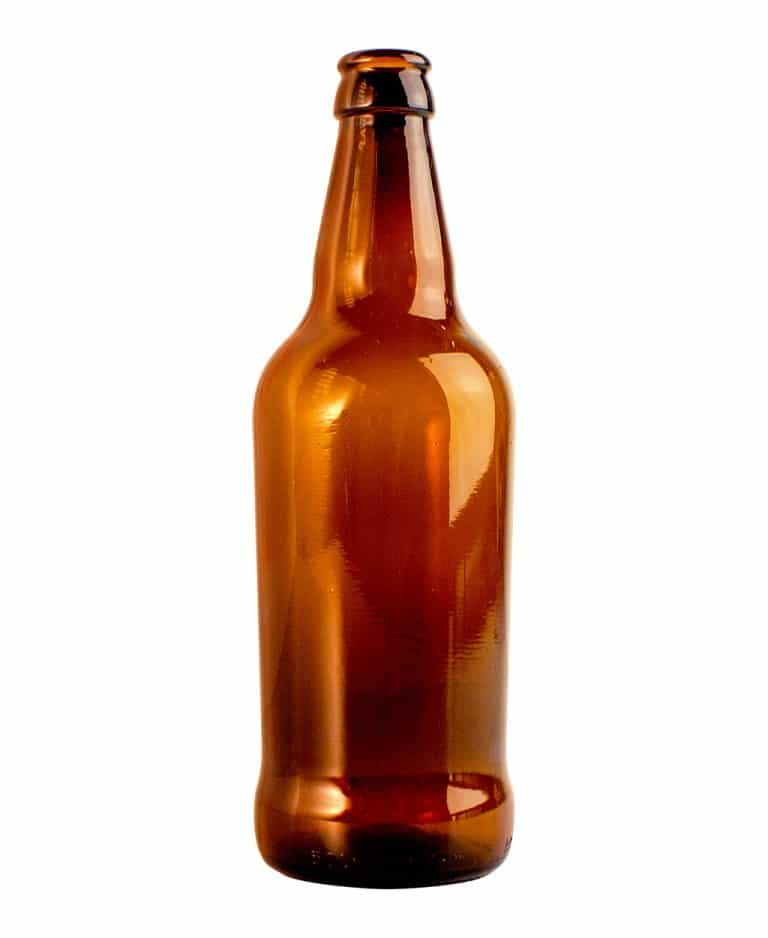 Beer bottle tapered 500ml crown glass amber