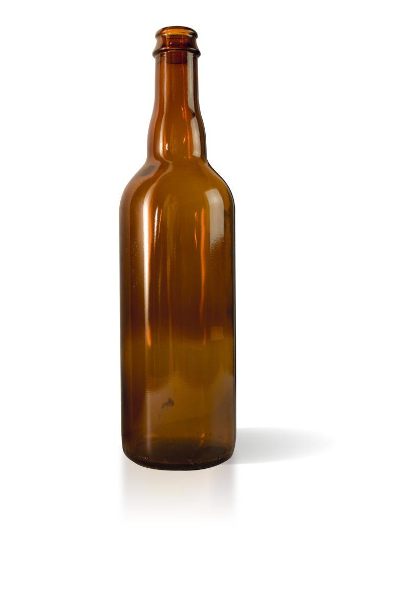 Bouteille bière 750ml couronne 29 verre jaune