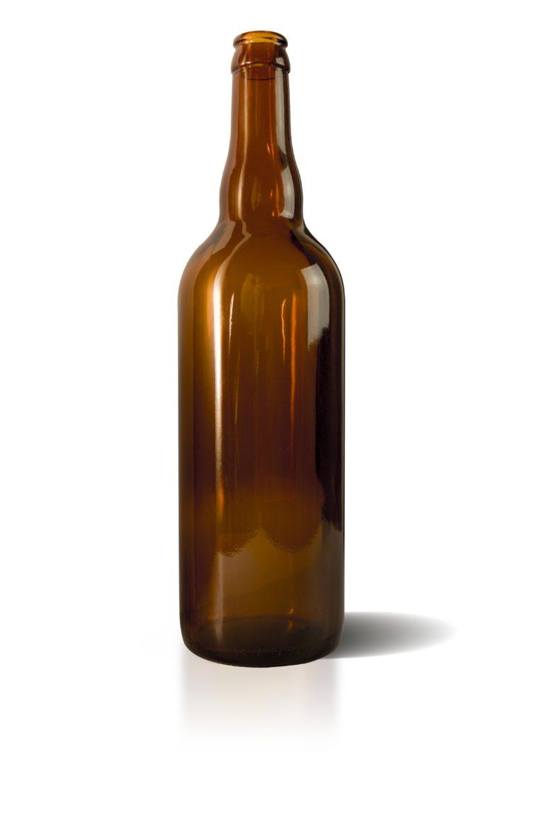 Bouteille bière 750ml couronne 26 verre jaune
