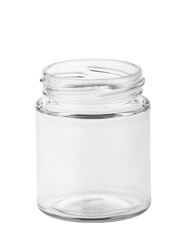 Food jar panelled 150ml 58TO glass white flint