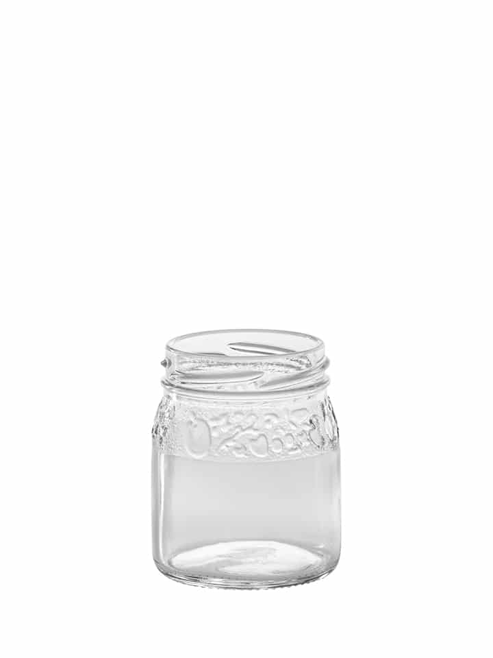 Fruit embossed jar 106ml 53TO glass white flint