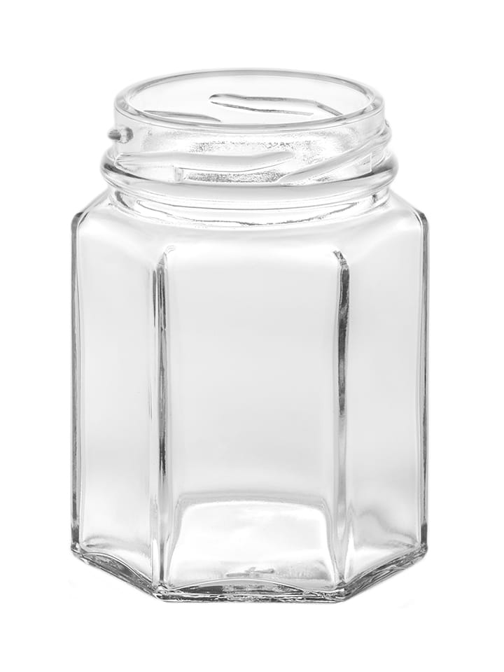 Hexagonal jar 110ml 48TO glass white flint