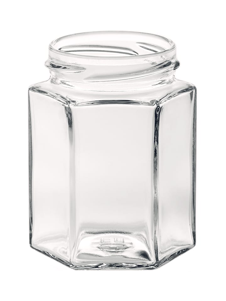 Hexagonal jar 190ml 58TO glass white flint